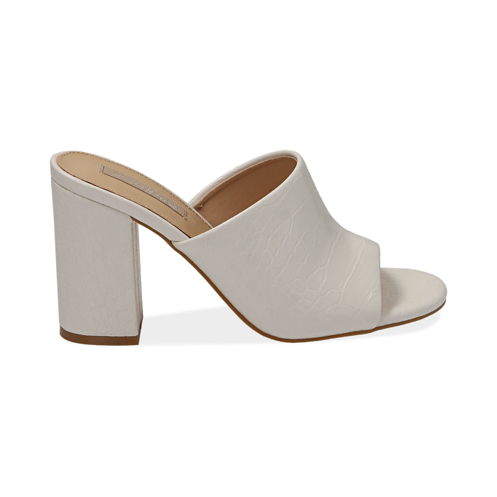 Mules bianche in eco-pelle cocco print, tacco 9 cm , Chaussures, 152783430CCBIAN036