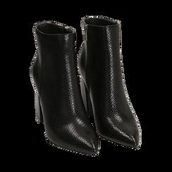Ankle boots neri in eco-pelle stampa pitone, tacco 9,5 cm , Primadonna, 142186672PTNERO036, 002 preview