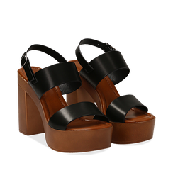 Sandali platform neri in eco-pelle con due fasce, tacco 12 cm , Primadonna, 132147761EPNERO038, 002a