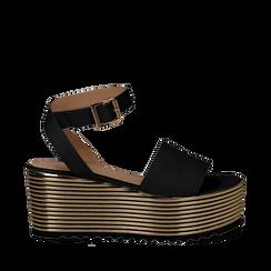 Sandali platform neri in eco-pelle, zeppa oro 7,50 cm , Scarpe, 115181925EPNERO036, 001a