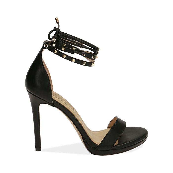 Sandali lace-up neri, tacco 11 cm, Primadonna, 172133431EPNERO036