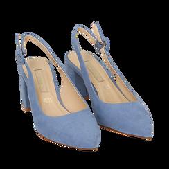 Slingback azzurre in microfibra, tacco 6,5 cm, Scarpe, 152123920MFAZZU035, 002a