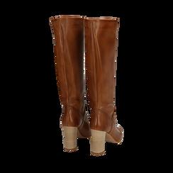 Stivali cuoio in pelle di vitello, tacco 9 cm, Scarpe, 158900890VICUOI036, 003 preview