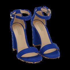 Sandali blu cobalto in microfibra, tacco 10,50 cm, Scarpe, 152706086MFBLCO035, 002a