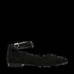 Ballerine a punta nere in microfibra con cinturino alla caviglia, Scarpe, 144814118MFNERO035, 001a
