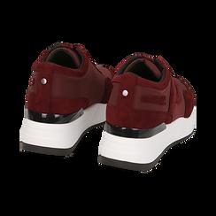 Sneakers bordeaux in tessuto tecnico, suola 5,50 cm , Scarpe, 142898983TSBORD035, 004 preview