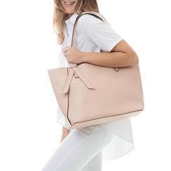 Shopping bag rosa in eco-pelle con fiocco decor, Borse, 133782945EPROSAUNI, 002a