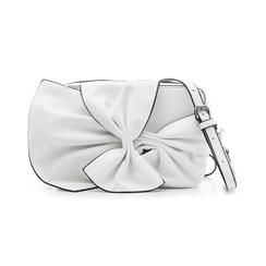 Camera bag bianca in eco-pelle con fiocco, Borse, 132300505EPBIANUNI, 001 preview