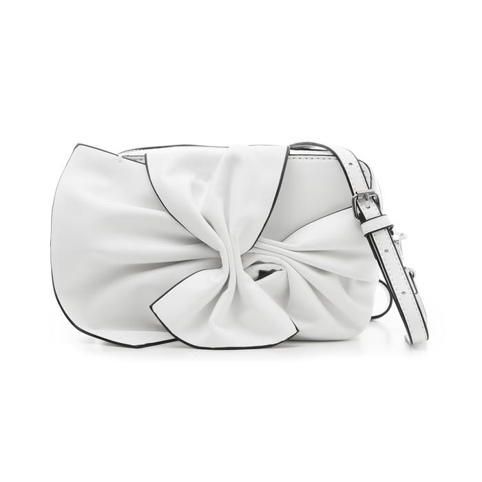 Camera bag bianca in eco-pelle con fiocco, Borse, 132300505EPBIANUNI