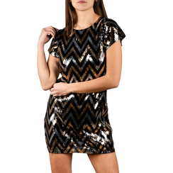 Minidress optical nero/oro con paillettes, Primadonna, 15B411406TSNEORL, 001 preview
