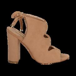 Sandali nude in microfibra con allacciatura alla caviglia, tacco 10,5 cm, Scarpe, 132760824MFNUDE036, 001 preview