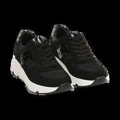 Sneakers nere in tessuto tecnico, zeppa 4 cm , Primadonna, 162801993TSNERO035, 002 preview