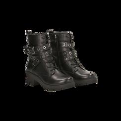 Anfibi neri con mini-oblò alla caviglia, Primadonna, 129328613EPNERO035, 002