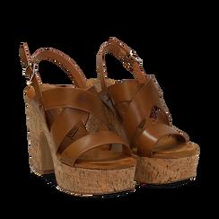 Sandali cuoio in eco-pelle, tacco in sughero 11 cm , Primadonna, 132173071EPCUOI035, 002a