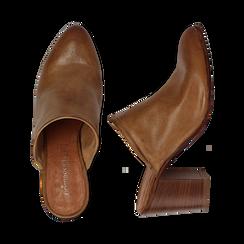 Mules cuoio in vera pelle, tacco 8 cm , Primadonna, 137725905PECUOI036, 003 preview