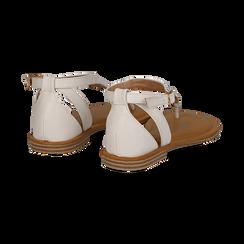 Sandali infradito bianchi in eco-pelle, Saldi Estivi, 134958215EPBIAN036, 004 preview