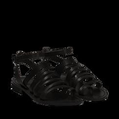 Sandali flat neri in pelle, Primadonna, 138100802VANERO035, 002a