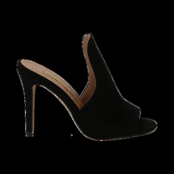 Mules nere in microfibra, tacco stiletto 10 cm, Primadonna, 134833121MFNERO035