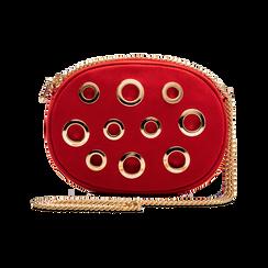Borsa Rossa Tracolla Ovale con Catenella Oro,
