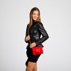 Pochette rossa scamosciata con pon-pon, Saldi Borse, 123369415MFROSSUNI, 005 preview