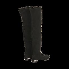 Stivali sopra il ginocchio flat con tacco gioiello, Primadonna, 124911281MFNERO038, 004 preview