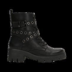 Anfibi neri con mini-oblò alla caviglia, Primadonna, 129328613EPNERO, 001 preview