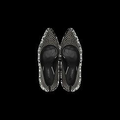 Décolleté nere con microborchie sferiche, tacco quadrato 9,5 cm, Scarpe, 122186671MFNERO, 004 preview