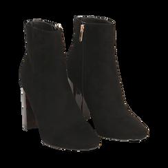 Ankle boots neri in microfibra, tacco tartarugato 9,5 cm , Stivaletti, 142166057MFNERO035, 002a