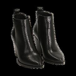Ankle boots neri stampa vipera, tacco 8,50 cm , Primadonna, 160585965EVNERO035, 002 preview