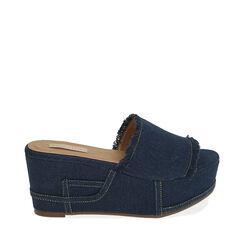Zapatillas jeans tela, cuña 8,5 cm, 172709374TSJEAN036, 001a