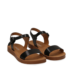 Sandali flat neri in eco-pelle, Primadonna, 112200341EPNERO036, 002a