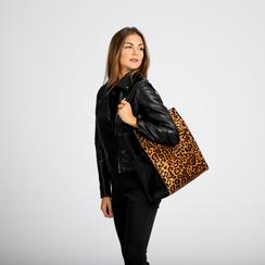 Borsa shopper leopard in microfibra, Borse, 122900004MFLEOPUNI, 004