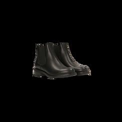 Chelsea Boots neri con tacco basso, Scarpe, 120618208EPNERO, 002 preview