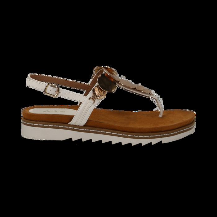 Sandali infradito bianchi in eco-pelle con suola bianca, Primadonna, 134922304EPBIAN035