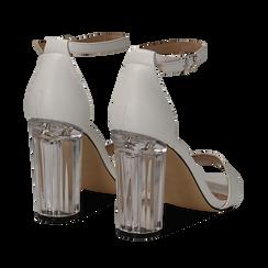 Sandali bianchi in eco-pelle, tacco plexi 10 cm , Sandali con tacco, 132708221EPBIAN037, 004 preview