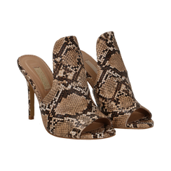Mules beige pitone in eco-pelle, tacco stiletto 10 cm, Primadonna, 134833121PTBEIG036, 002 preview