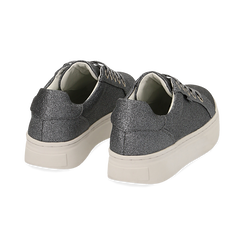 Sneakers argento glitter, suola 4 cm , Scarpe, 142509512GLARGE036, 004 preview