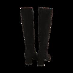 Stivali neri in camoscio, tacco 7 cm, Scarpe, 14D601110CMNERO036, 003 preview