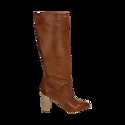 Stivali cuoio in pelle di vitello, tacco 9 cm, Scarpe, 158900890VICUOI036, 001 preview