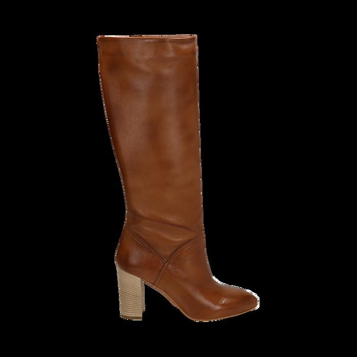 Stivali cuoio in pelle di vitello, tacco 9 cm, Scarpe, 158900890VICUOI036