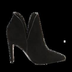 Ankle boots neri in microfibra, tacco 10,50 cm , Primadonna, 162123720MFNERO035, 001a