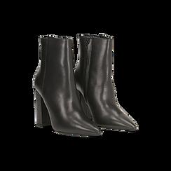 Tronchetti neri in vera pelle, tacco 10 cm, Scarpe, 12D615110VINERO, 002 preview