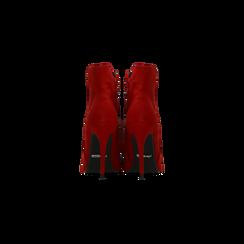 Tronchetti rossi scamosciati, tacco stiletto 10,5 cm, Scarpe, 124895652MFROSS, 003 preview