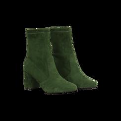 Tronchetti verdi scamosciati, tacco 7,5 cm, Scarpe, 122115991MFVERD, 002 preview
