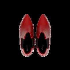 Chelsea Boots rossi in vera pelle, tacco a cono 9 cm, Scarpe, 12D613910VIROSS, 004 preview