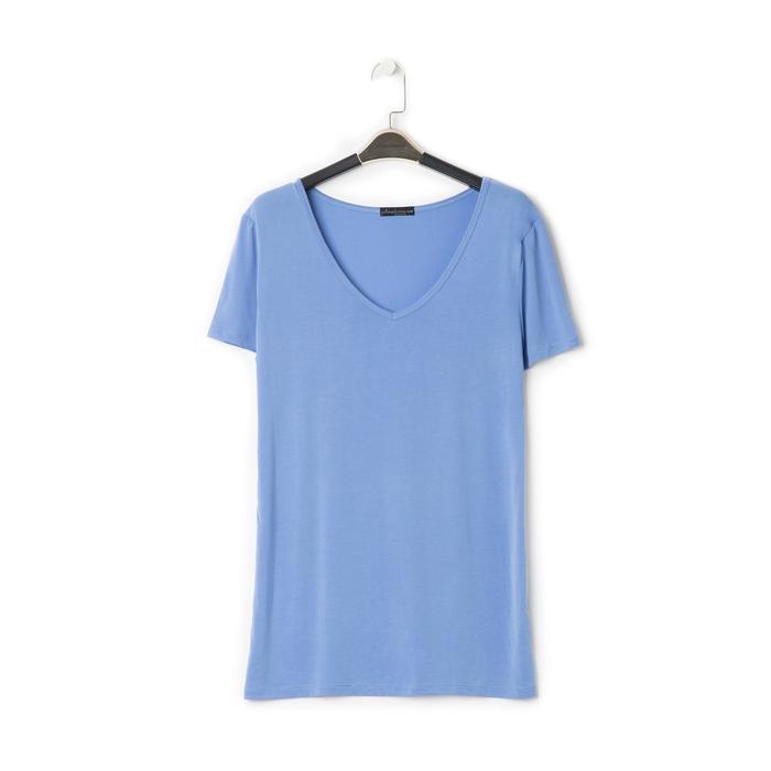 T-shirt con scollo a V blu in tessuto, Saldi Estivi, 13F750713TSBLUEM