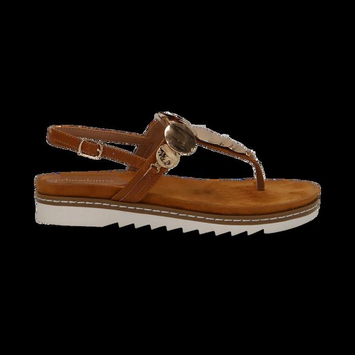 Sandali infradito cuoio in eco-pelle con suola bianca, Primadonna, 134922304EPCUOI