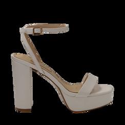 Sandali con pleateau bianchi in eco-pelle, tacco 12,50 cm, Sandali con tacco, 132138091EPBIAN037, 001a