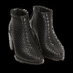 Bottines noires en cuir tressé, talon 6,50 cm, Primadonna, 15J492506PINERO036, 002a