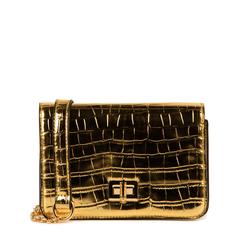 Bolso pequeño en eco-piel con estampado de cocodrilo color dorado, Primadonna, 155701124CCOROGUNI, 001a